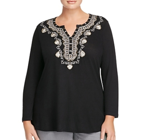 a175d3caef688 Lucky Brand Plus Size Embroidered Bib Top 1X NWT